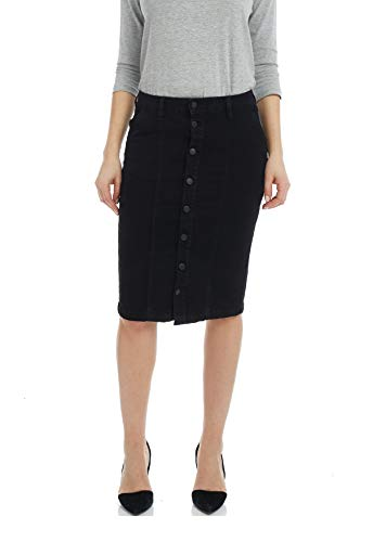 ESTEEZ Women's Denim Pencil Skirt - Button Down Stretch Jean Montreal Black 14