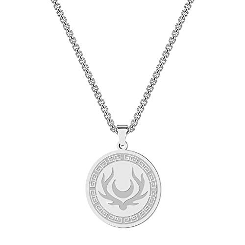 Chereda Mond Symbol von Artemis Amulett Herren Halskette Göttin der Jagd griechische Mythologie Game of Thrones Edelstahl Frauen Halsketten, Edelstahl,