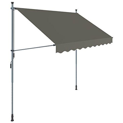 SONGMICS Klemmmarkise, 250 cm, Balkonmarkise, Sonnenschutz, Markise mit Gestell, Verstellbare Höhe 2-3 m, Grau GSA253GY
