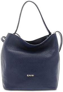 GIUDI ® - Borsa Donna in pelle vitello martellato, vera pelle, sacca, Made in Italy. (Blu chiaro)
