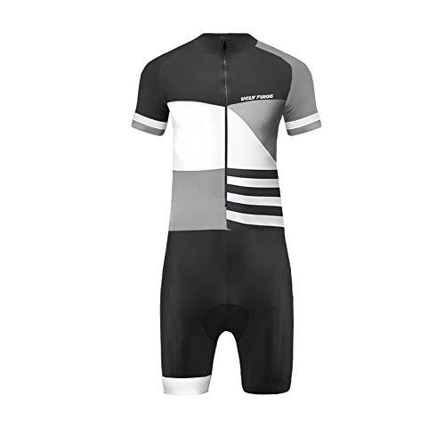Uglyfrog 2019 Newest Herren Triathlon Suit Radfahren Skinsuit Kurzarm/Langarm Radtrikot Atmungsaktiver und Strapazierfähiger Triathlonanzug Rennanzug für Radfahren Laufen Training Quick-Dry