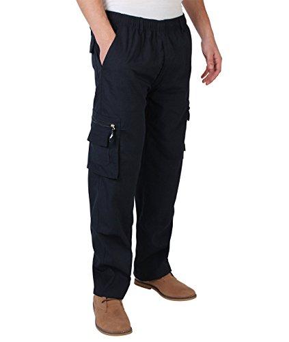 KRISP Männer Praktische Cargohose Gummizug Seitliche Taschen (Marineblau, Gr.XXX-L) (7918-NVY-XXXL)
