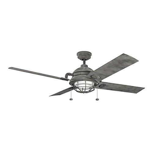 Kichler Lighting 310136WZC Outdoor Patio Ceiling Fan, 65', Weathered Zinc