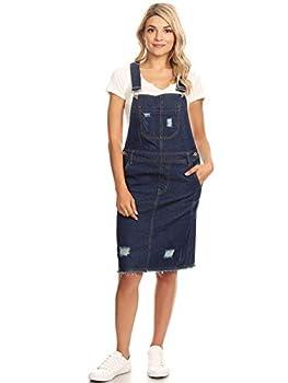 Anna-Kaci Junior Womens Distressed Denim Adjustable Strap Overall Dress Indigo Medium