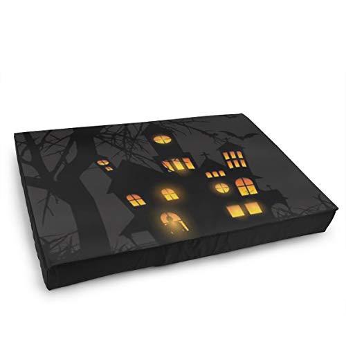 Qing_II Haustierbett für Hunde und Katzen Halloween Schloss Mond Kürbisse Fledermäuse Mond Hundebett für Welpen und Kätzchen mit abnehmbarem Bezug