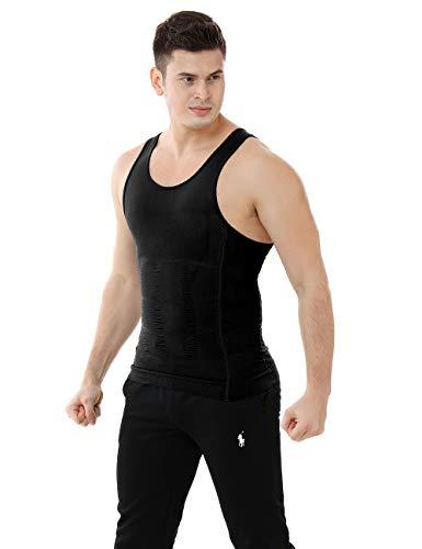 TopTie Faja Reductora de Hombre, Camiseta Interior de Tirantes elástica, Chaleco Adelgazar para Hombre, Camisetas de Compresión, Color Negro-L