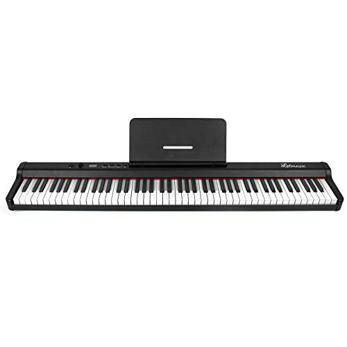 lotmusic Digital Piano 88 Key Full Size Velocity-Sensitive Semi-Weighted Keys Portable Electric Piano with Sustain Pedal Power Supply for Beginner/Adults Practice