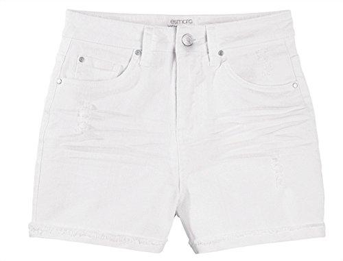 Esmara Damen Jeanshose Hotpants kurz weiß Jeansshorts Shorts Destroyed (42, schneeweiss)