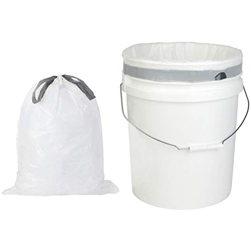 Plasticplace 5 Gallon Trash Bags │ 0.9 Mil │ White Drawstring Garbage Liners for Bucket │ 19' X 25' (100 Count)