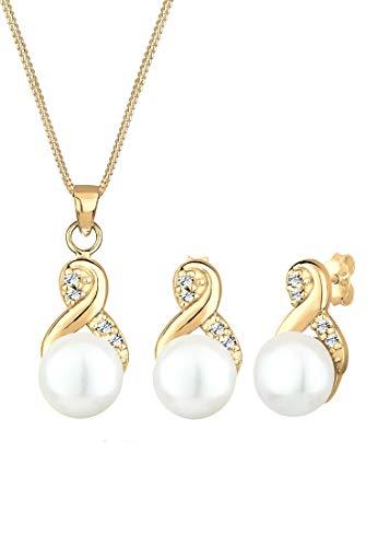 Elli Premium Schmuckset Infinity Endless Perle Swarovski® Kristalle Silber