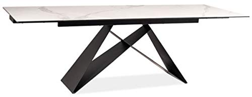 Casa Padrino designer dining table white/matt black 160-240 x 90 x H. 76 cm - Extendable dining room table with table top in marble look - Dining room furniture