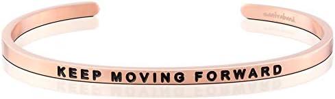 MantraBand Bracelet Keep Moving Forward Inspirational Engraved Adjustable Mantra Band Cuff Bracelet product image