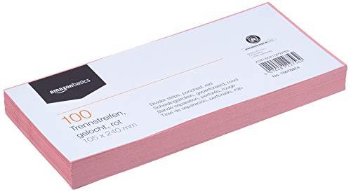 Amazon Basics – Trennstreifen, aus recyceltem Manilapapier, vollfarbig, gelocht, 10,5 x 24cm, 160g/m², 100Stück, Rot