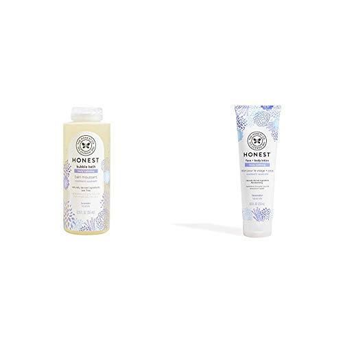 The Honest Company Truly Calming Lavender Bubble Bath,12 fl. oz. and The Honest Company Truly Calming Face + Body Lotion, 8.5 Fl Oz