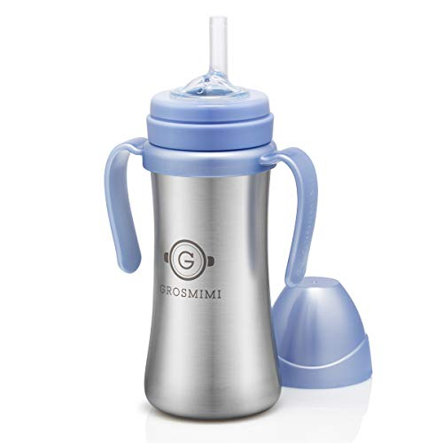 Grosmimi Vacuum Insulated Sippy Cup with Straw with Handle for Baby and Toddlers, Stainless 6 oz (Sky Blue)