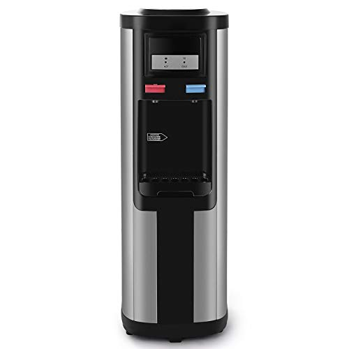Water Dispenser 5 Gallon Top Loading Hot and Cold Water Stainless Body Compression Refrigeration With Child Safety Lock Black