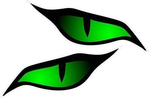 CT Design Paar Böse Augen Sticker Grün in Farbe Vinyl Auto Motorrad Helm Aufkleber Je 70x30mm
