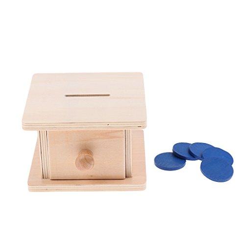 MagiDeal Juguetes Infantil Montessori Coin Box Caja Piggy Bank de Madera Aprendizaje Educativo Juegos para Niños
