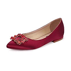 Comfort Flat Rhinestone Pointy Toe Slip On Burgundy Shoes