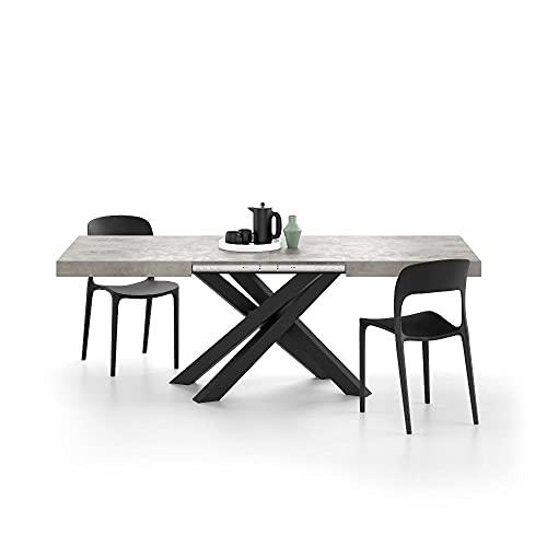 Mobili Fiver, Mesa Extensible Emma 140, Color Cemento Gris, con Patas Cruzadas Negras, Aglomerado y Melamina/Hierro, Made in Italy
