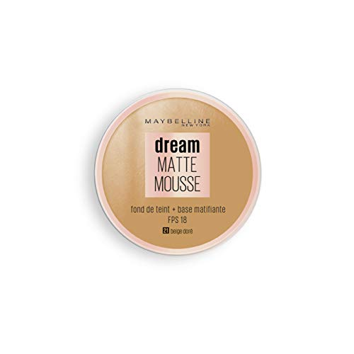 Maybelline New York - Fond de Teint Mousse Matifiant - FPS18 - Dream Matte Mousse - Beige Doré (21)