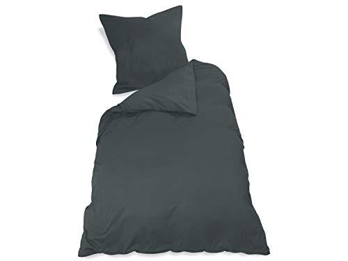npluseins 2er Pack Kissenbezug oder 1 Set Bettwäsche - Jersey Baumwolle 552.676, Bettwäsche [135 x 200 + 80 x 80 cm], anthrazit