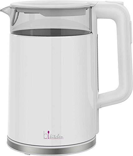 Bkitchen Hot 700 Glas-Wasserkocher mit digitaler Temperatureinstellung, 5 Stufen, 1.7 l, Warmhaltefunktion, Betriebsbeleuchtung, 2200, 1.7 liters, weiß