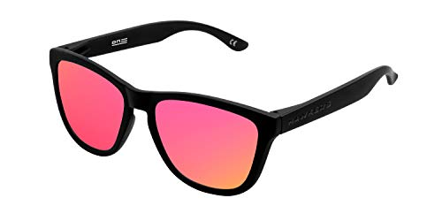 HAWKERS Gafas de Sol ONE Carbon Black, para Hombre y Mujer, con Montura Negra Mate y Degradada Fucsia con Efecto Espejo, Protección UV400
