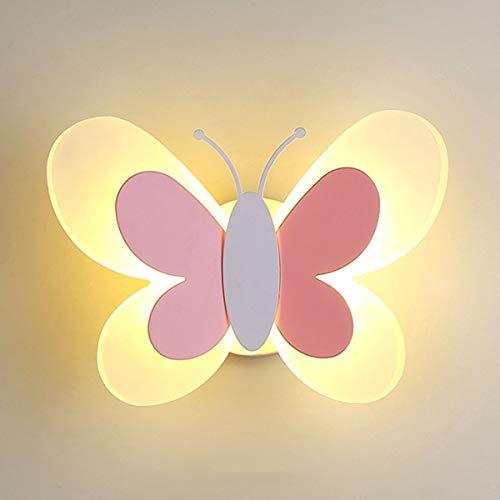 MINGRT Apliques de Pared de LED Escaleras, Mariposa Creatividad 14W Iluminación de Pared para Habitación de Niños con Tire del Interruptor Lámpara de Noche para Dormitorio, Pasillo (Color : Pink)