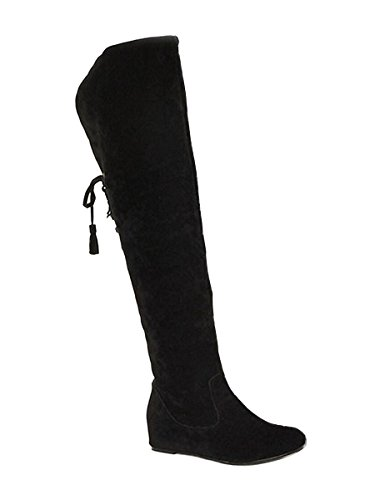 Minetom Damen Winter Warm Schnee Hohe Stiefel Pelzstiefel Flache Schuhe Overknee Stiefel Schwarz 42