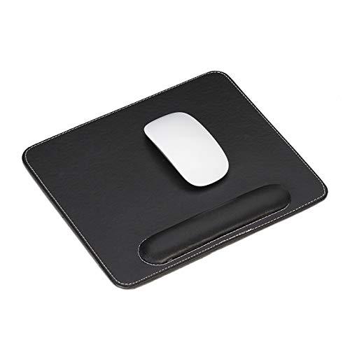 Relaxdays muismat, kunstleer, ergonomisch, muisonderzetter met polssteun, voor computer & laptop, hoekig, zwart, 1 stuk