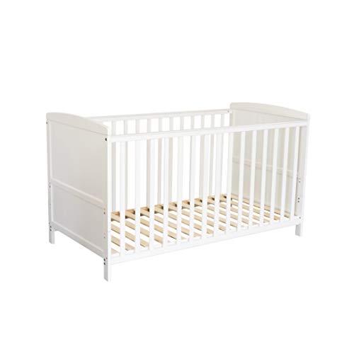 Puckdaddy Cuna de bebé Mika - 140x70 cm, Cuna Convertible de Madera en Blanco, Cuna Ajustable en Altura con Faja extraíble, también se Puede convertir en Cuna