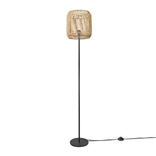 Paco Home LED Stehlampe Modern Wohnzimmer Schlafzimmer Rattan Optik Boho Korb Stehleuchte E27, Lampenfuß:Einbeinig Schwarz + Leuchtmittel, Lampenschirm:Natur (Ø28 cm)