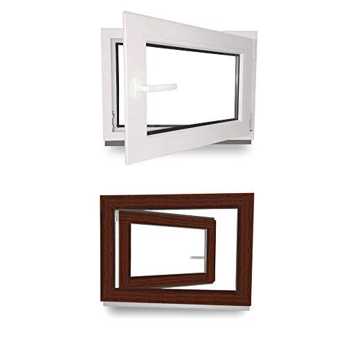 Kellerfenster - Kunststoff - Fenster - innen weiß/außen mahagoni - BxH: 60 x 40 cm - 600 x 400 mm - DIN Rechts - 2 fach Verglasung - 60 mm Profil