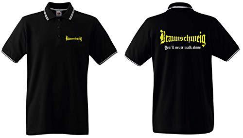 world-of-shirt / Braunschweig Herren Polo-Retro You`ll Never Walk Alone Schwarz XXL