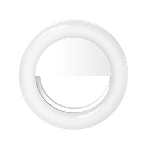 VEVICE - Anillo de luz LED para Selfie con Clip para cámara de teléfono Inteligente, Forma Redonda, para cámara de Smartphone, Tablet, cámara de portátil, fotografía y vídeo, Recargable.
