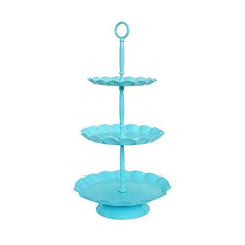 WEIFAN-Support tray Bleu Ciel Cake Stand Moule À Gâteaux Rond Présentoir Présentoirs Biscuits À Dessert Muffin Aux Bonbons Stand Décoration De Fête De Mariage Dorée (Trois Niveaux)