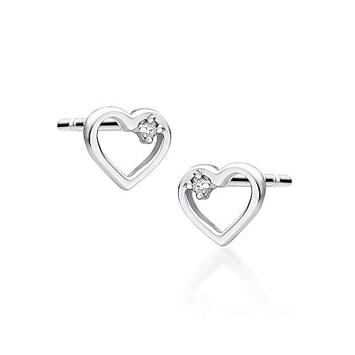 Pendientes para mujer de oro blanco 585 de 14 quilates, con forma de corazón y diamantes brillantes