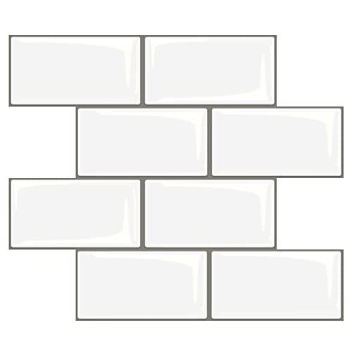 Art3d Peel and Stick Backsplash, 14x12 Subway Tiles, Faux Ceramic Tiles (10 Tiles, Thicker Version)