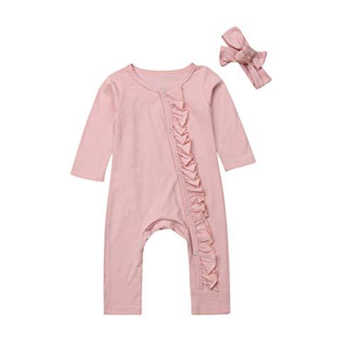 Chloefairy Mädchen Strampler Langarm Body + Stirnband Baby Overall Mädchen 0-6 Monate Bekleidung Outfit Set (Pink-a, 0-3 Monate)