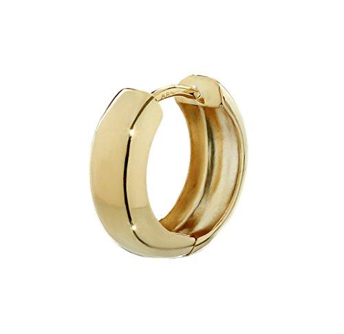 NKlaus Einzel 585er 14 Karat Gold gelbgold Klappcreole Ohrring 15 x 5,1mm Hochglanzpoliert Rund 4742