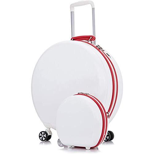 ZHANGXJ Moda Redondo Maleta Equipaje de Mano Trolley Moda Bolso de Hombro Ligero ABS Juegos de Maletas Pequeño con 4 Ruedas Caso (Color : White-45×2150cm)