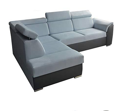 Ecksofa Sofa Eckcouch Couch mit Schlaffunktion und Bettkasten Ottomane L-Form Schlafsofa Bettsofa Polstergarnitur - MODENA II (Ecksofa Links, Blau)
