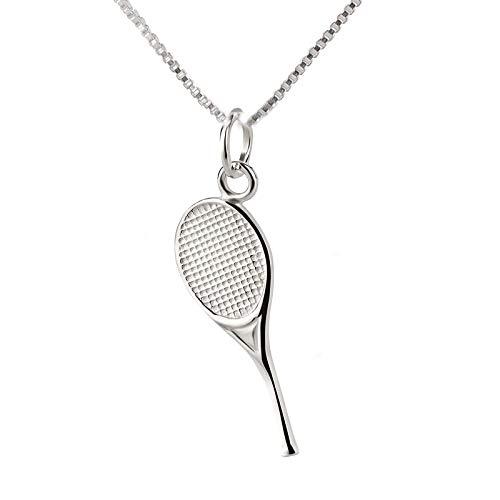 FIVE-D - Collana con Ciondolo a Forma di Racchetta da Tennis in Argento 925, in Confezione Regalo