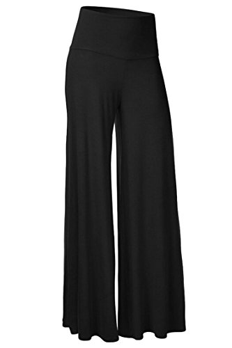 AuntTaylor Womens Wide Leg Boho Solid Color Plus Size Palazzo Pants Black S