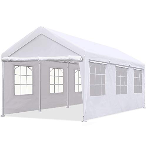 Quictent 10'x20' Heavy Duty Carport Gazebo Canopy Garage Car Shelter White (with Windows)
