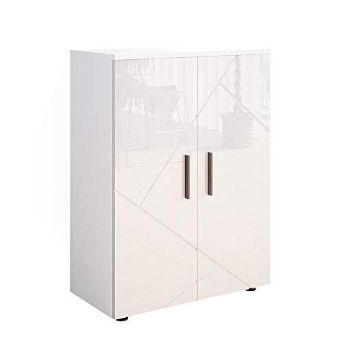 Vicco Badezimmerschrank Badschrank Kommode Irma Badmöbel Badkommode Sideboard (Weiß Hochglanz)