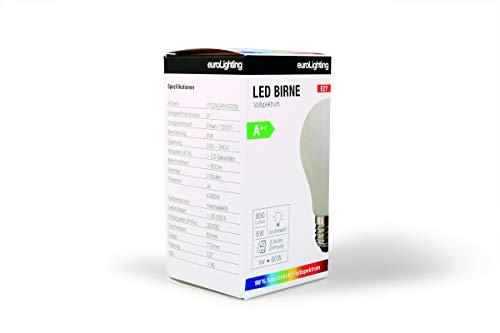 NEU! euroLighting Premium LED Birne E27 Glaskolben 8W Neutral Weiss (4000K) 800 Lumen mit Sonnenlichtspektrum/Vollspektrum und 3 Stufen Dimmung
