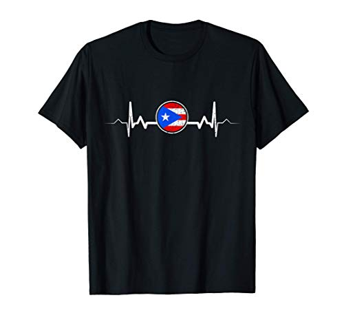 Puerto Rico Flag Heartbeat Puerto Rican Pride Gift T-Shirt
