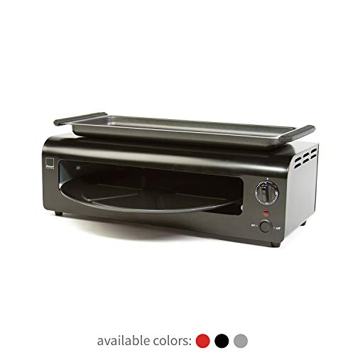 Ronco Pizza and More, Pizza Oven with Warming Tray, Countertop Open-Air Convection Oven, Cooks 40% Faster, Party Convection Oven, Automatic Shut-Off Timer, Includes Warming Tray and Non-Stick Pan, Dishwasher Safe Accessories (Black Stainless)
